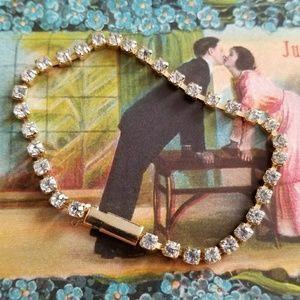 Vintage tennis bracelet gold tone faux diamond